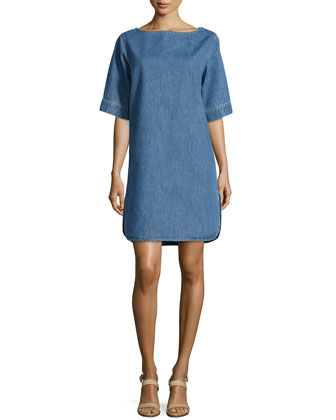 Short-Sleeve Denim Shift Dress, Blue