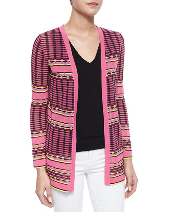 Grid-Stitch Long Cardigan