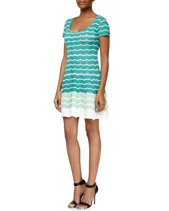 Colorblock Zigzag Circle Dress, Aqua/White