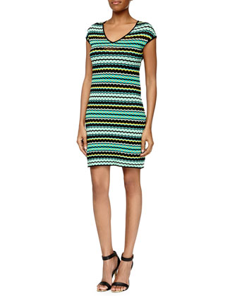 Pebbled V-Neck Stretch Dress, Aqua