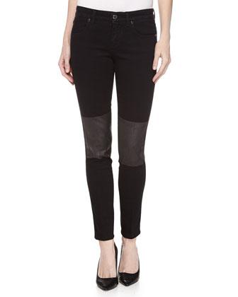 Skinny Knee-Coated Ankle Jeans, Black