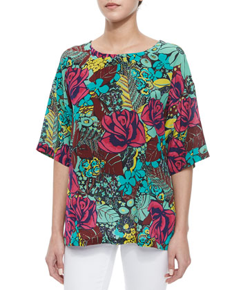 Silk Jungle Rose Blouse, Mint/Multicolor