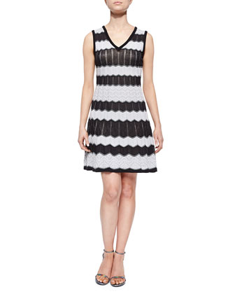 Bi-Color Wave-Striped Tank Dress