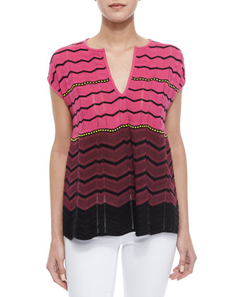 Knit Chevron Colorblock Blouse, Pink
