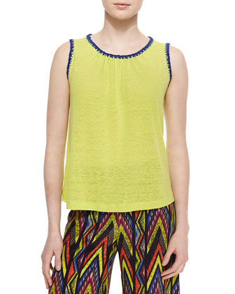 Contrast-Trim Jersey Knit Tank Top