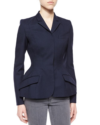 Wool Fit-and-Flare Jacket, Navy