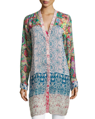 Mix-Print Long Cardigan, Women's