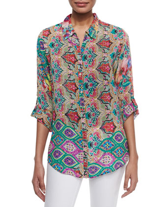 Daja Button-Front Blouse, Women's