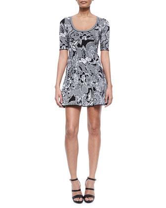 Floral Zigzag Intarsia Dress