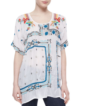 Danny Short-Sleeve Embroidered Blouse, White, Women's
