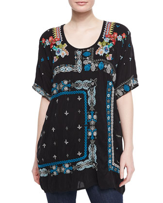 Danny Short-Sleeve Embroidered Blouse, Women's