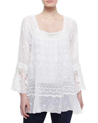 Blue Springs Eyelet Flutter Tunic