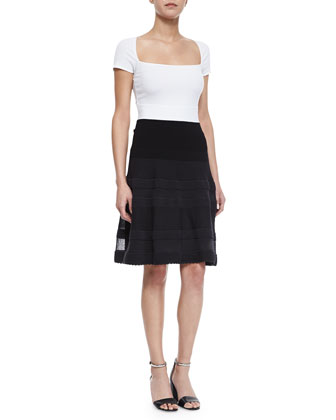 Ribbed-Trim Bicolor A-Line Dress, Black/White