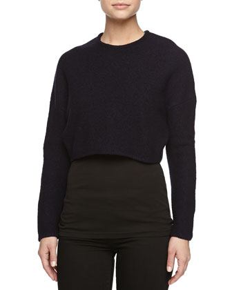 Long-Sleeve Wool Cropped Pullover, Blue