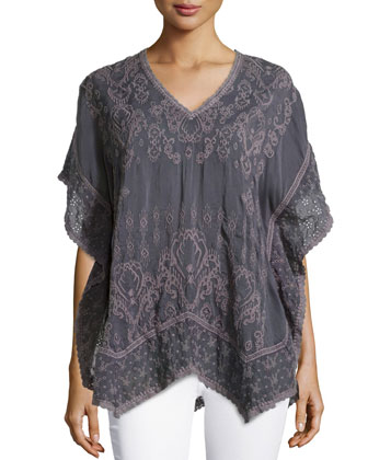 Tribal V-Neck Poncho