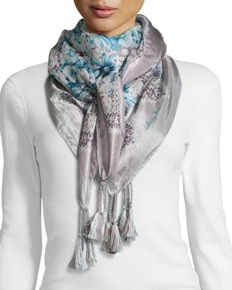 Tea-Leaf-Print Silk Scarf