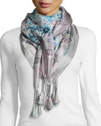 Tea-Leaf-Print Silk Scarf
