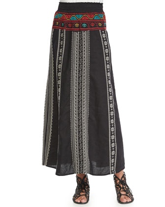 Johnny Was Collection Scoop-Neck Cotton Tank & Femme Linen Maxi Skirt