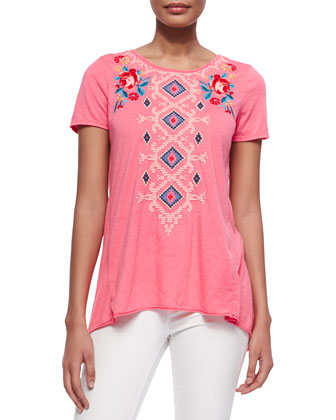 Judith Embroidered Draped-Back Tee, Women's