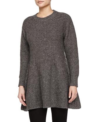 Cashmere-Blend Crewneck A-Line Pullover, Gray