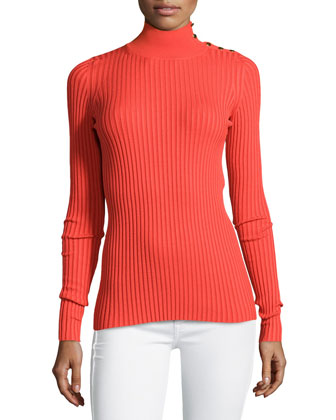 Studded Ribbed Turtleneck Sweater