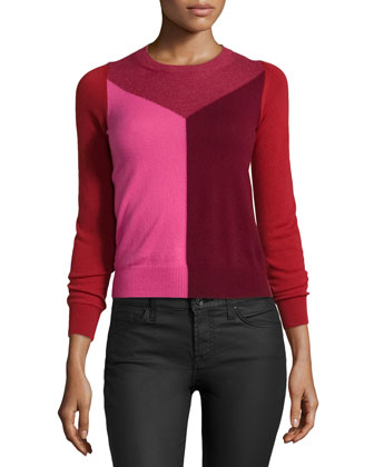 Colorblock Crewneck Cashmere Sweater