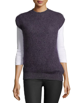 Sleeveless Ribbed Wool-Blend Sweater