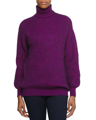 Wool-Blend Turtleneck Sweater, Purple