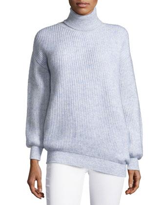 Wool-Blend Turtleneck Sweater, Blue