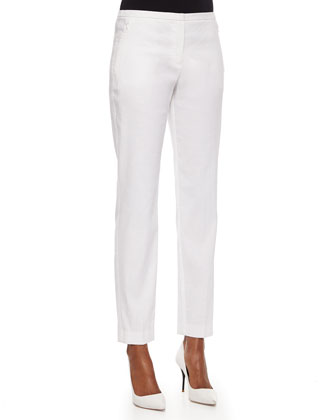 Jillian Straight-Leg Pants, White
