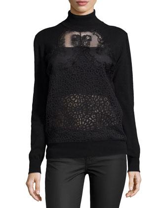 Mixed-Lace Knit Turtleneck, Black