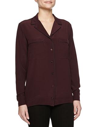 Long-Sleeve Silk Shirt W/ Contrast Piping