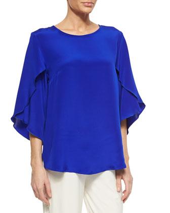 Silk Butterfly-Sleeve Top, Women's