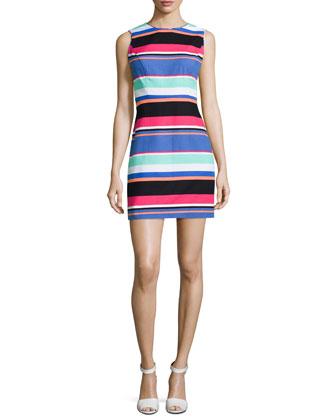 tropical stripe mariam sheath dress