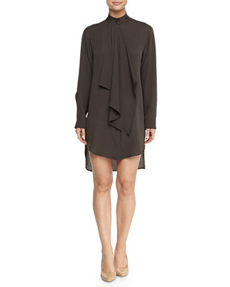 Silk Cascade-Ruffle Shirtdress, Gray