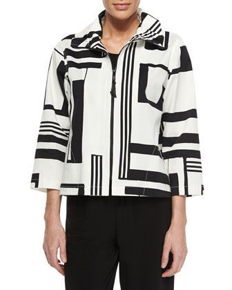 Graphic-Print Stretch Short Jacket, Petite