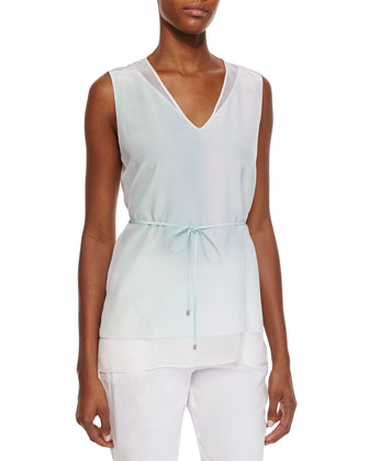 Talia Sleeveless Tie-Waist Blouse