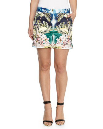Tropical Printed Cotton Shorts