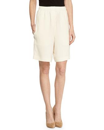 Woven Knee-Length Shorts, Cream