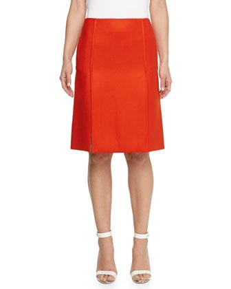 Knee-Length Wool Skirt, Red