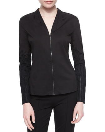 Verna Textured-Sleeve Zip Blouse
