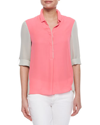 Kasha Silk Colorblock Blouse, Pink/Off White