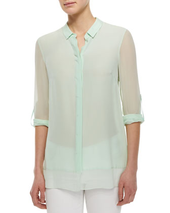 Crista Long-Sleeve Sheer Blouse