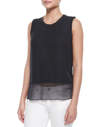 Amelie Sleeveless Raw-Edge Silk Blouse, Gray