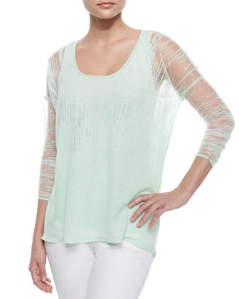 Sparkling Burnout Jersey Sweater & Neely Sleeveless Knit Tank