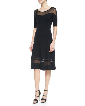 Jandra Mesh-Trim Sweaterdress, Black