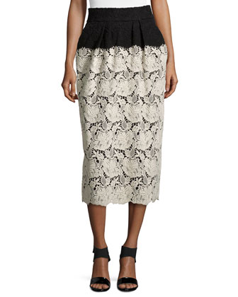 Two-Tone Long Lace Skirt