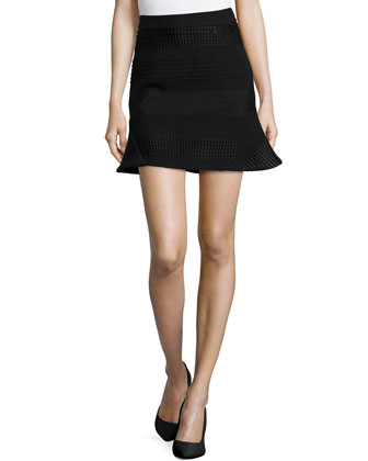Textured Flare Mini Skirt, Black