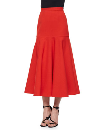 Pleated Midi Skirt, Red