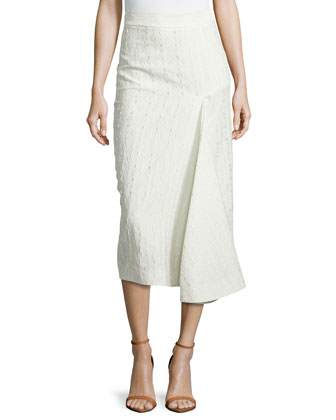 Embroidered Draped-Pleat Skirt